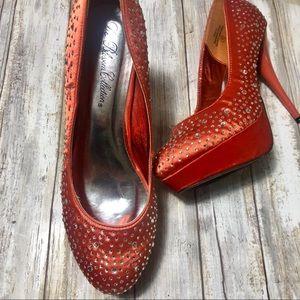 Satin Crystal Speckled Platform Stilettos